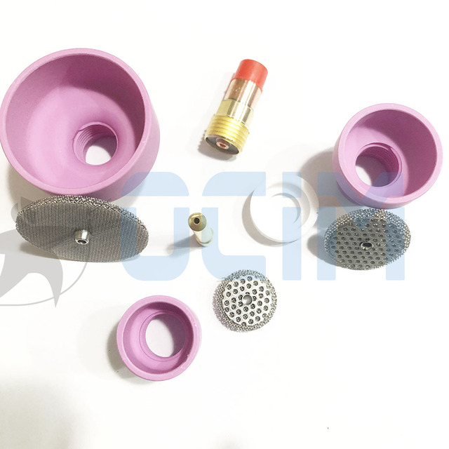 tig welding torch Ceramic Nozzle Cups +Strainer Mesh+Collet+Gas Lens For WP9/20