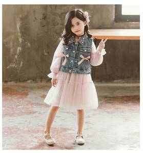 Children's Clothing New-Products Cowboy-Bow Two-Piece Suit Skirt Vest Spring Baby Trend