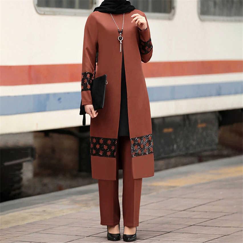 Vestido Musulman Ramadan Eid Conjunto De Blusa De 2 Piezas Para Mujer Pantalones De Pierna Ancha Dubai Abaya Con Cordones Ropa Islamica Caftan Solido Turquia Africano Ropa Islamica Aliexpress