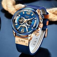 2021 lige masculino relógios topo marca de luxo azul couro cronógrafo esporte relógio para homem data moda à prova dwaterproof água reloj hombre