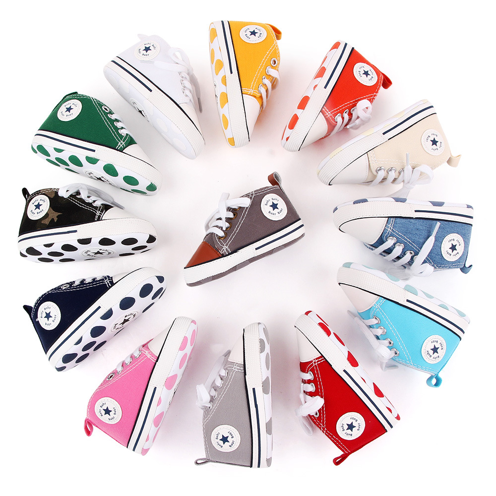 Baby Sneaker Boy Girl Shoes Print Star Canvas Soft Anti-Slip Sole Newborn Infant First Walkers Toddler Casual Canvas Crib Shoes