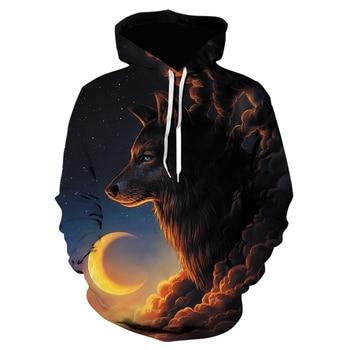 Novelty Wolf 3D Printed Hoodies Hip Hop Creative Hoodie Animal Brand Sweatshirt Fashion Men Clothing Hooded Pullover Dropship