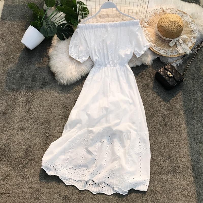 South Korea Chic Summer Beach Resort Skirt Bohemia Skirt Breast Wipe Collar Super Fairy Hollow Dress Woman