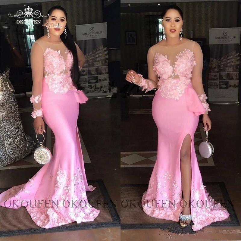 Superbes robes de bal sirène à manches longues transparentes avec Appliques grande taille femmes robe de soirée formelle en Satin rose - 4
