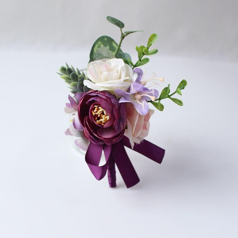 15125     boutonniere marriage wedding corsage silk flower men groom  (2)