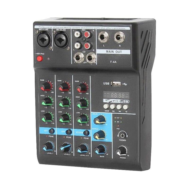 Finlemho DJ mélangeur Audio 48V alimentation fantôme USB Console 4 voies professionnel F4A pour amplificateur de puissance Subwoofer haut-parleur ligne rangée