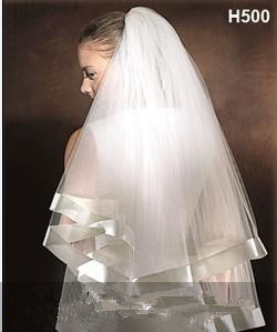 2018 New Arrival Wedding Accessories Layer Ribbon Edge White Ivory Wedding Veils Bridal Veil With Comb