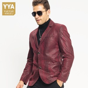 Image 2 - Man Genuine Leather Jacket Luxury Brand Sheepskin Slim Crocodile Pattern Blazer Jacket Business Single Breasted Short Coat Male
