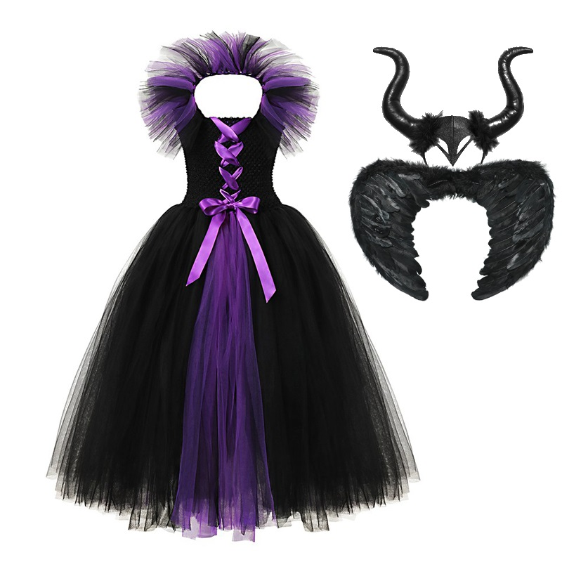 MUABABY Girl Maleficent 2 Dress Up Clothes Sleeveless Evil Queen Princess Tutu Dress With Devil Horn Halloween Costume For 2-12T