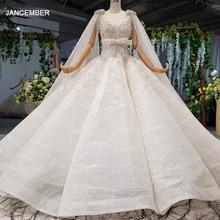 HTL973 Ball ชุดแต่งงานชุดที่ถอดออกได้ผ้าคลุมไหล่คอโบว์เข็มขัดลูกปัด gowns แต่งงานพร้อม Glitter Robe mariage Femme