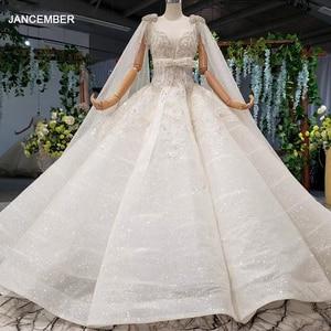 Image 1 - HTL973 бальное платье, свадебные платья, съемный рукав, шаль, круглый вырез, бант, пояс, бисер, свадебные платья с хвостом, халат с блестками, mariage femme