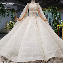 Htl973 vestido de baile vestidos de casamento destacável manga xale o pescoço arco cinto grânulo vestidos de casamento com cauda glitter robe mariage femme