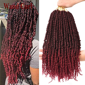 18inch Pre Passion Twist Crochet Hair Long Synthetic Bouncy Braids Black Ombre Brown Burgundy Fluffy Braiding Hair 12 roots/pc