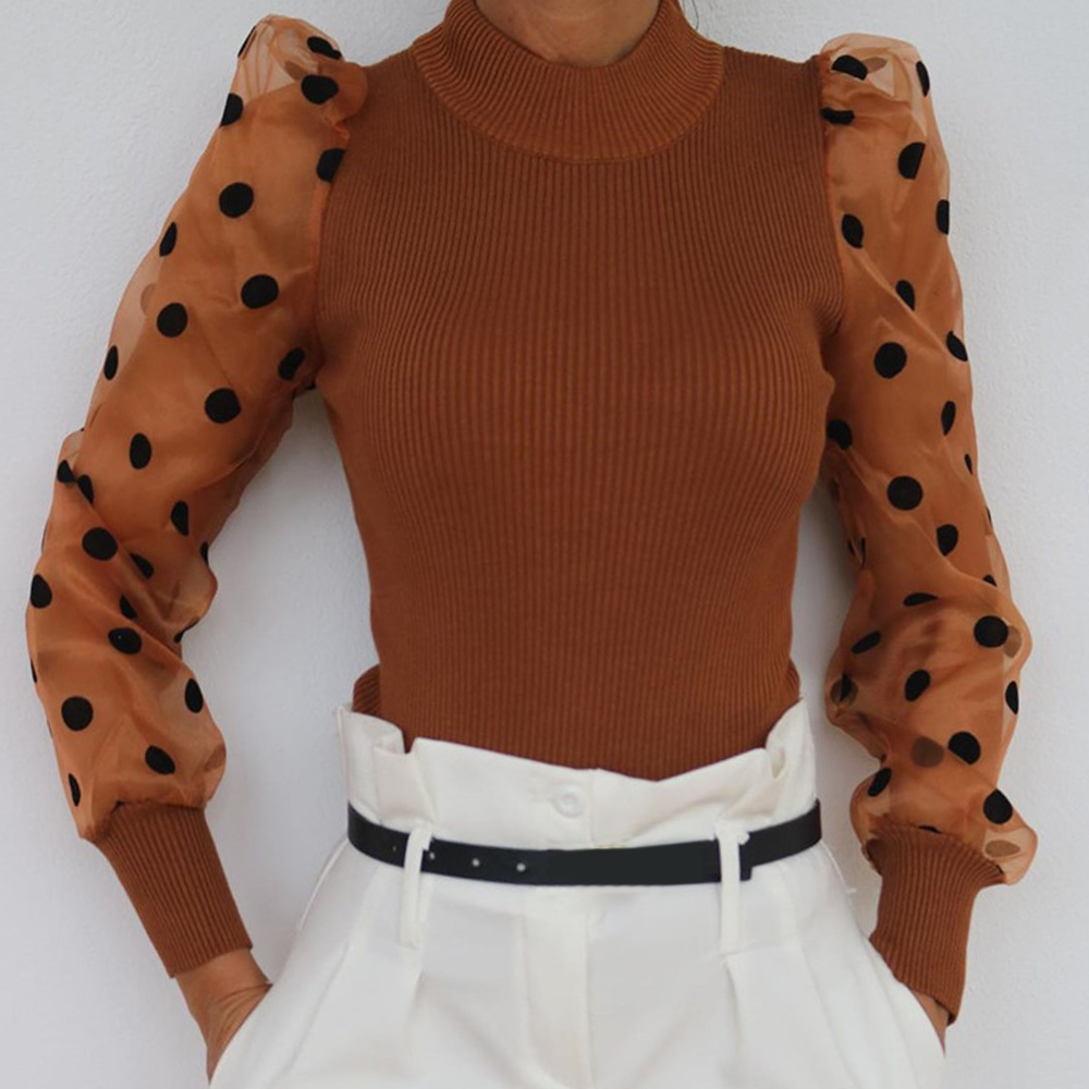 Spring Mesh Puff Long Sleeve Turtleneck Sweater Women New Party Clubwear Dot Print Blouse Tops Knitted Shirt Ladies Jumper Tops