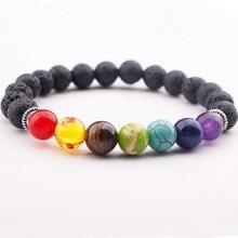 Fashion Jewelry 7 Chakras Lava Charm Natural Stone Beads Handmade Elastic Bracelet Volcanic Mens
