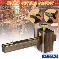 Indonésia ebony + cobre puro diy carpinteiro madeira trabalho parafuso de corte calibre mark raspador wearproof scribers|Conjuntos ferramenta manual| |  -