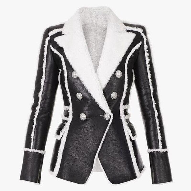 EXCELLENT QUALITY 2019 Stylish Designer Winter Blazer For Women Lion Buttons Artificial Fur Leather Jacket Blazer