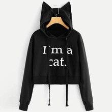 Otoño mujer corta Sudadera con capucha letra impresa manga larga gato oreja Sudadera con capucha pulóver 2019 blusa femenina Tops sudaderas holgadas