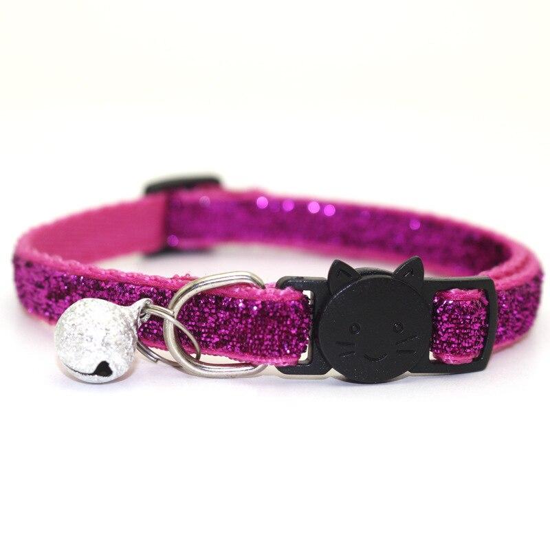 Ошейник для питомца кота с колокольчиком, модный Регулируемый ошейник для котенка, кошки с блестками, шейный ремень, аксессуары для животных принадлежности для кошек - Цвет: Rose Red