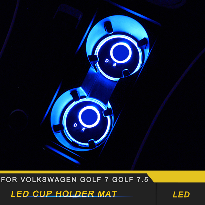 For Volkswagen <font><b>Golf</b></font> 7 <font><b>Golf</b></font> 7.5 Car Styling <font><b>LED</b></font> Cup Holder Mat Protector Cover <font><b>Trim</b></font> Interior Accessories image