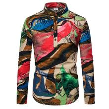 Men's shirts Fashion graffiti Casual Blouse Men Linen Shirts Men Stand collar Unique button design Long sleeves New stand collar fashion leaves printed vintage button design shirts for men