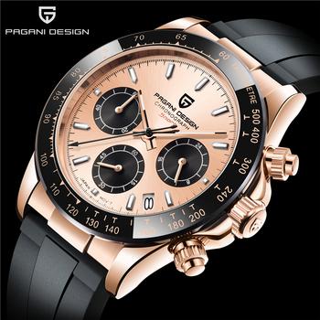 PAGANI DESIGN Top Brand New Men zegarek kwarcowy luksusowe szafirowe szkło zegarek sportowy gumowy z chronografem na pasku zegarek męski Relogio tanie i dobre opinie 25cm Luxury ru QUARTZ NONE 10Bar Sprzączka CN (pochodzenie) STAINLESS STEEL 12mm SZAFIROWY KRYSZTAŁ Kwarcowe zegarki Papier