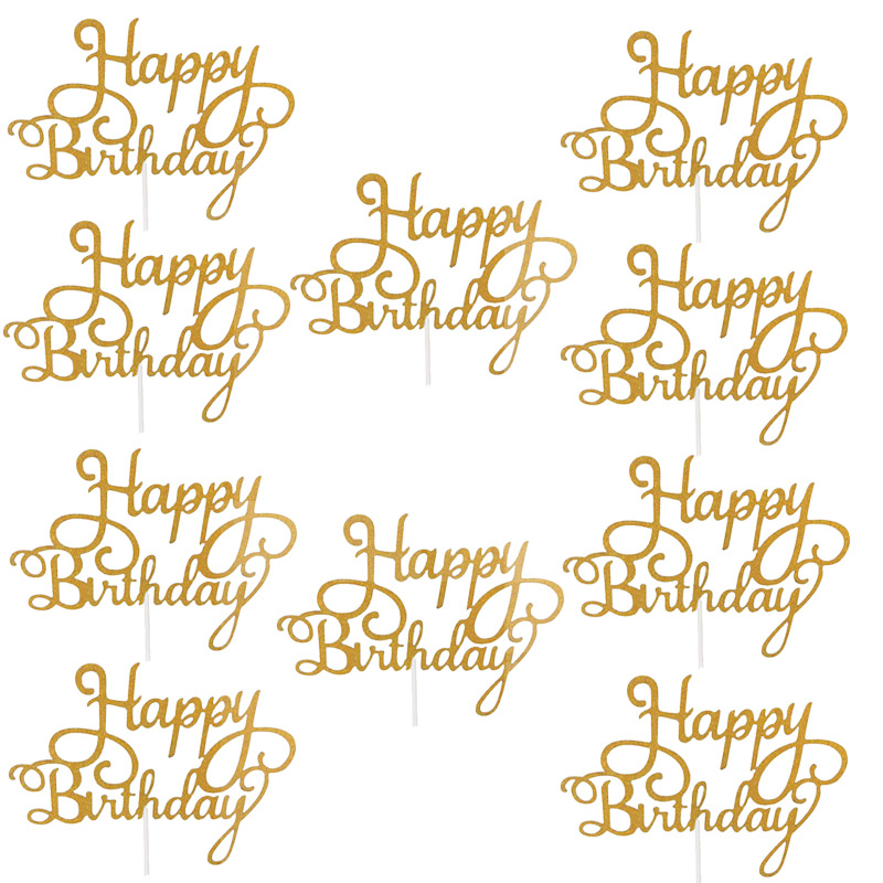 10pcs Gittler Happy Birthday Cake Topper Bling Sparkle Decoration Sign Happy Birthday Cake Topper Girl`s Birthday Dessert Decor