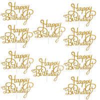 10 Uds Gittler Topper para tarta de feliz cumpleaños Sparkle Bling decoración señal Topper para tarta de feliz cumpleaños chica cumpleaños postre Decoración