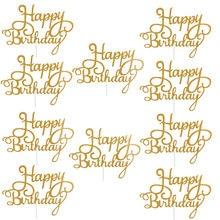 10pcs Gittler Happy Birthday Cake Topper Bling Sparkle Decoration Sign Happy Birthday Cake Topper decorazioni per Dessert di compleanno per ragazze