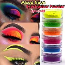 6 цветов/партия, смешанные неоновые тени для век, пудра, матовые Минеральные тени для век с блестками, палитра, легко наносится, водонепрониц...