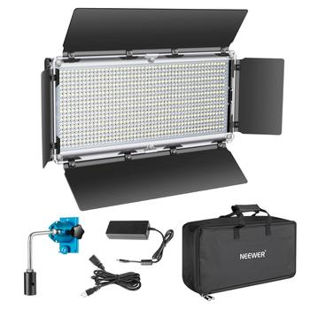 Neewer 960 LED Video Light Photography LED Lighting Dimmable 3200-5600K, Metal Frame with Barndoor, DC Adapter/Battery Power