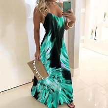 Women's sexy Dress  Spaghetti Strap Colorful Print Sleeveless Casual Maxi Dress платье женское vestidos women dress 2019 цена