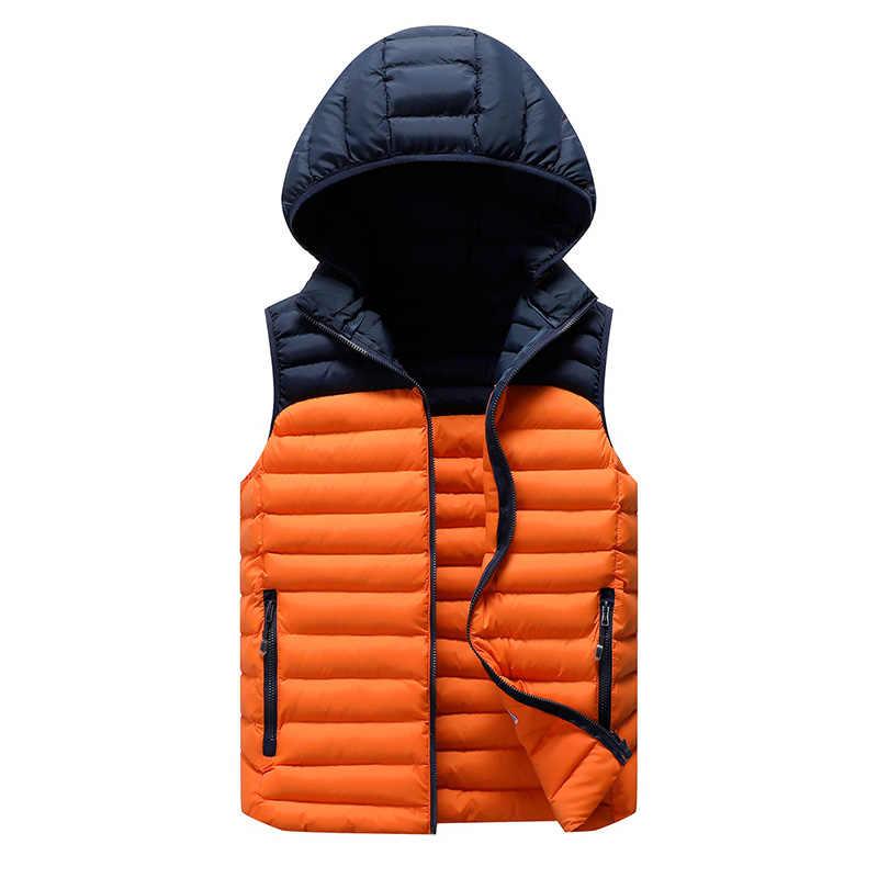 Zima bezrękawnik mężczyźni na co dzień dół kamizelka mężczyźni ciepłe grube płaszcze z kapturem mężczyzna wacik kosmetyczny męskie do biura kamizelka kamizelka Homme L-8XL