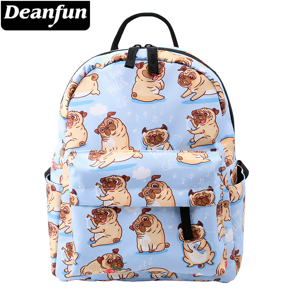 Deanfun Mini Backpacks For Girls Printing Cute Pug Waterproof Small Bags For Women Shopping Bag For Teenage Girls MNSB-5