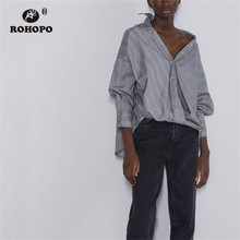 ROHOPO Long Sleeve Houndstooth Plaid Bow Hem Gray Blouse Gradient Design British Academy Lantern Sleeve Top Shirt #9255 цена 2017