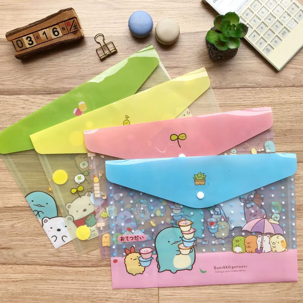 12 Pcs/lot Transparent Sumikko Gurashi A4 File Holder Cute Press Document Bag Pencil Case Stationery Gift Office School Supply