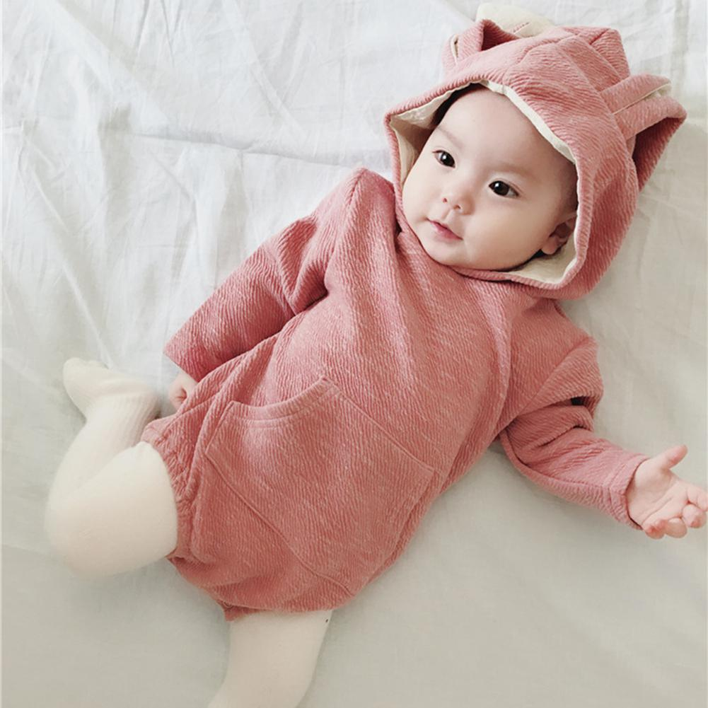 Newborn Baby Bodysuit Cute Jumpsuit with Rabbit Ears Long Sleeve Unisex Lovely Hooded Romper