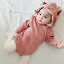 Newborn Baby Bodysuit Cute Jumpsuit with Rabbit Ears Long Sleeve Unisex Lovely Hooded Romper autumn baby fashion cute warm rompers cute rabbit ears design baby bunny hooded romper newborn boys and girls one pieces suits