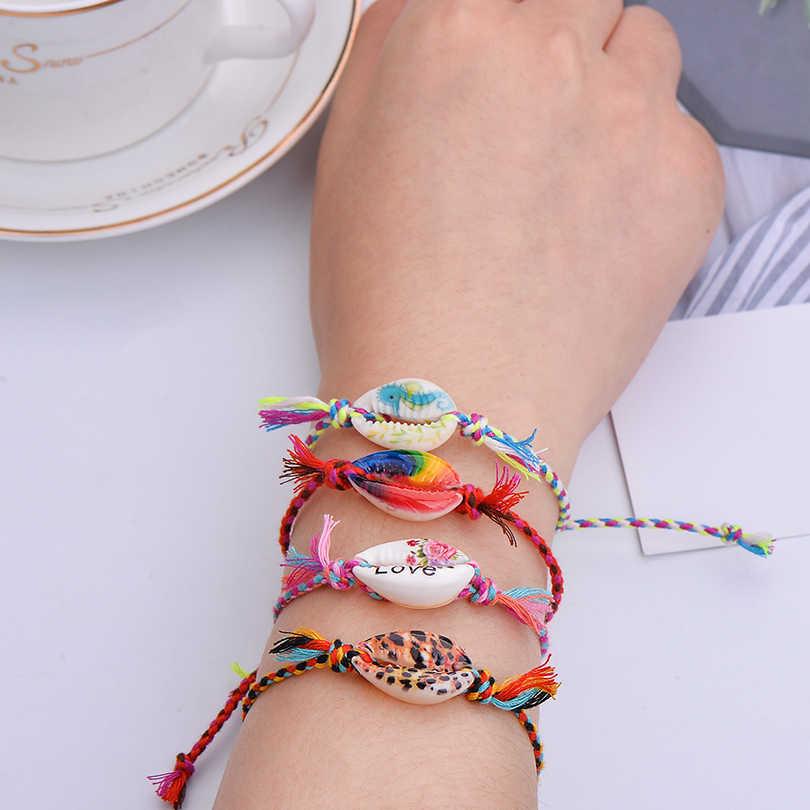 Pipitree Sea Shell Charm สร้อยข้อมือ Handmade Bohemian พิมพ์เชือกถักสร้อยข้อมือผู้หญิงผู้ชายเด็ก Boho Beach เครื่องประดับของขวัญ