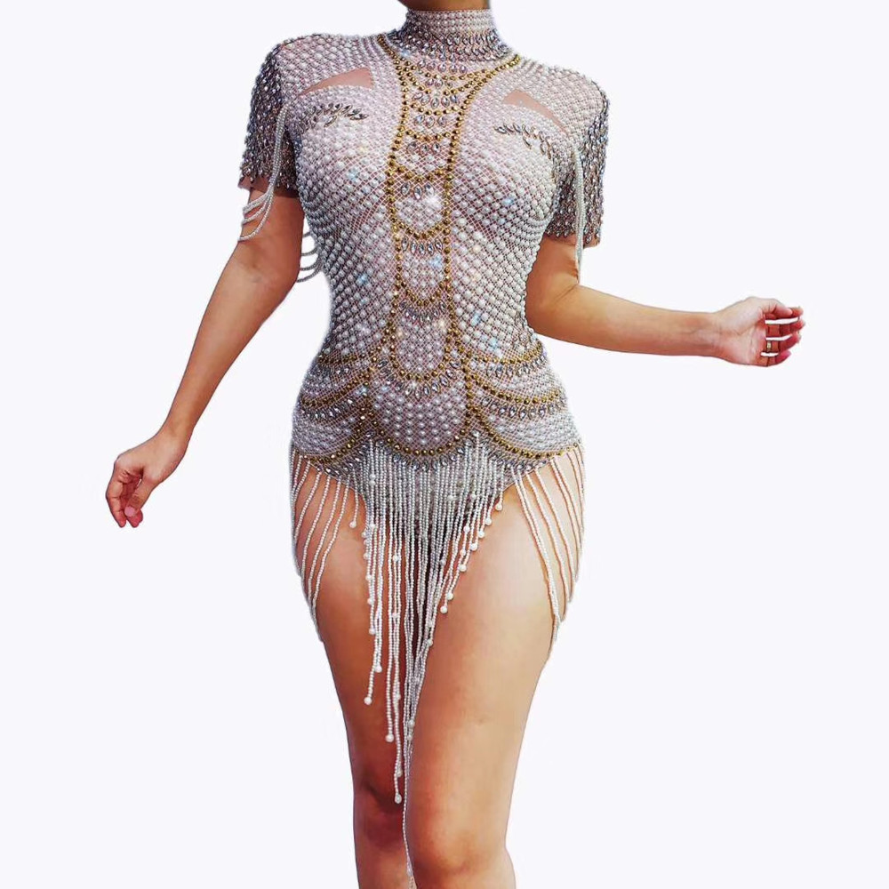Vintage Pearls Rhinestone Party Bodysuits Stretch Fringes Crystal Leotard Women Stage Dance Costume Showgirl Performance Clothes