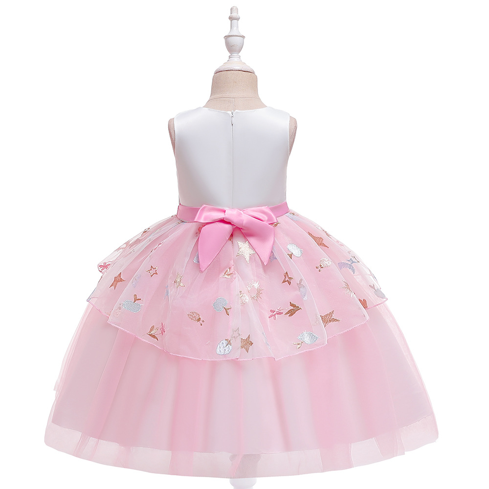 Flower Girls Dress Party Dresses for Kids Pearls Formal Ball Gown 2020 Evening Baby Outfits Tulle Girl