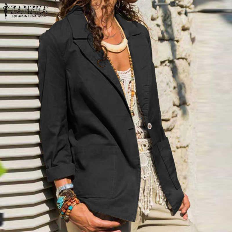 Plus Size 2020 Fashion Zanzea Vrouwen Blazers Vrouwelijke Effen Blazer Toevallige Lange Mouw Lente Herfst Uitloper Chaqueta Mujer 5XL 7