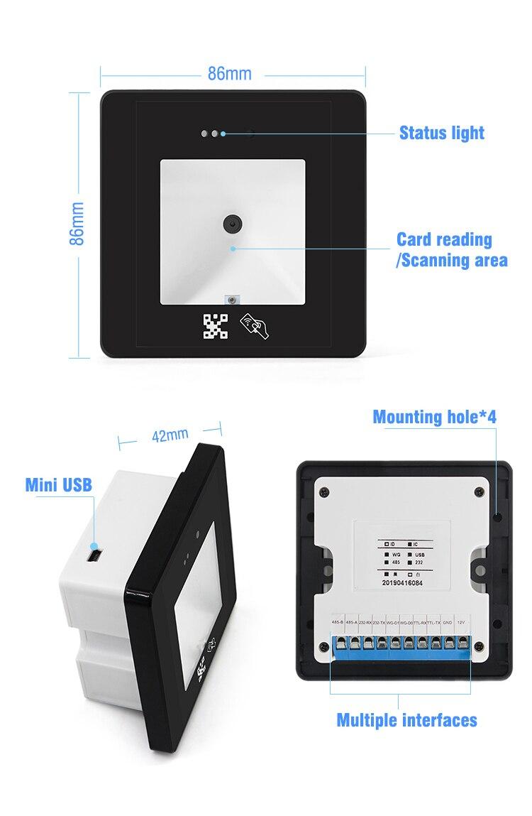 interface wiegand rs232 multil scanner de codigo de barras incorporado leitor de cartao usb rs48 2d