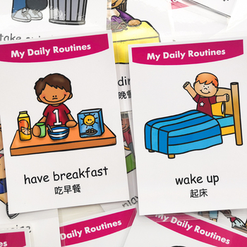Baby Learn Chinese Emotion Daily Routines Shape English Learning Card Early Education Pairing Puzzle Children's Game Toys - discount item  10% OFF Learning & Education