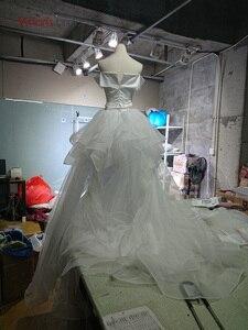 Image 5 - Vivians Bridal 2019 Hot Reflective Dress Satin Wedding Dress Sexy Strapless Off Shoulder Detachable Train Mermaid Bridal Dress