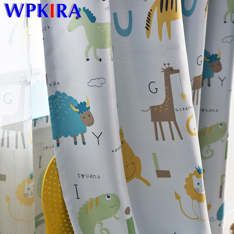 Cartoon Animal Printed Window Curtain For Living Room Thick Fabric Grey Blackout Curtain For Bedroom Children Curtain WP421D3 Curtains     - title=