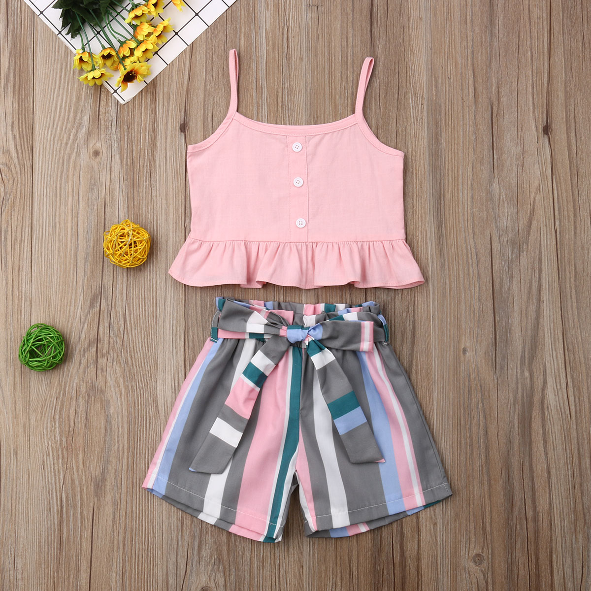 Pudcoco Summer Toddler Baby Girl Clothes Sleeveless Ruffle Strap Crop Tops Striped Short Pants 2Pcs Outfits Clothes 1-6Y