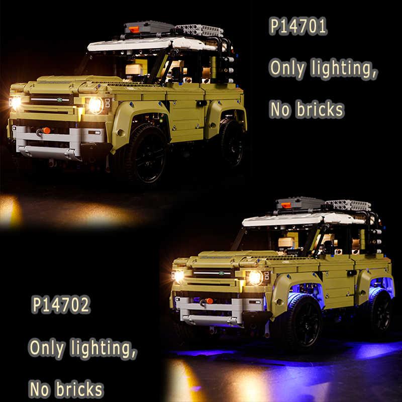 Led אור סט תואם לגו בלוקים 42110 לנד רובר מגיני Off road רכב טכנולוגיה קבוצת סדרת הרכבת צעצועים