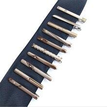 Новое мужское платье Серебряные Зажимы для галстука Изысканная мода простой бизнес зажим для галстука 10 стилей на выбор