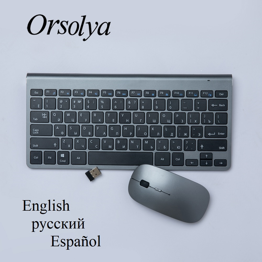 Russian/Spanish/English 2.4G Wireless Keyboard And Mouse Mini Multimedia Keyboard Mouse Combo Set For Laptop PC TV Gray